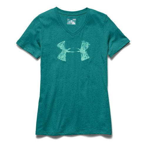 Womens Under Armour Charged Cotton Painted V-Neck Short Sleeve Technical Tops - Emerald Sari XS ...