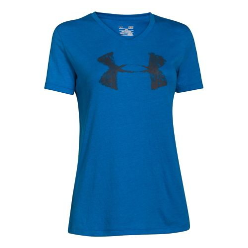 Womens Under Armour Charged Cotton Painted V-Neck Short Sleeve Technical Tops - Snorkel S