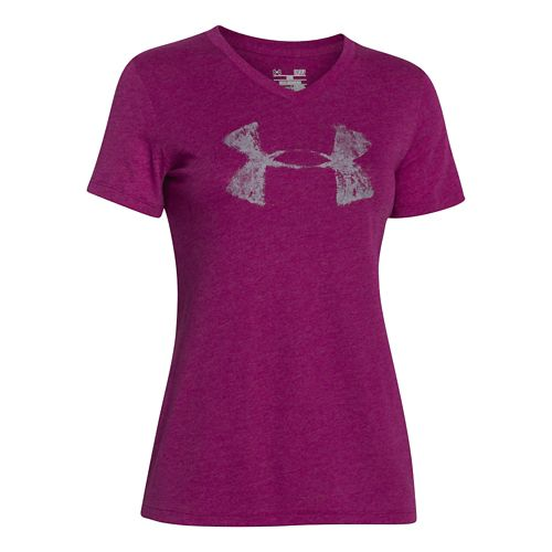 Womens Under Armour Charged Cotton Painted V-Neck Short Sleeve Technical Tops - Aubergine XL
