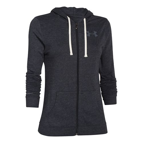 Womens Under Armour Charged Cotton Tri-Blend Full Zip Warm Up Hooded Jackets - Black S ...