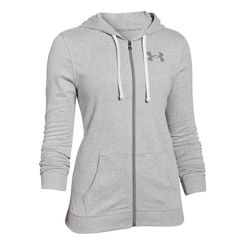 Womens Under Armour Charged Cotton Tri-Blend Full Zip Warm Up Hooded Jackets - True Gray ...