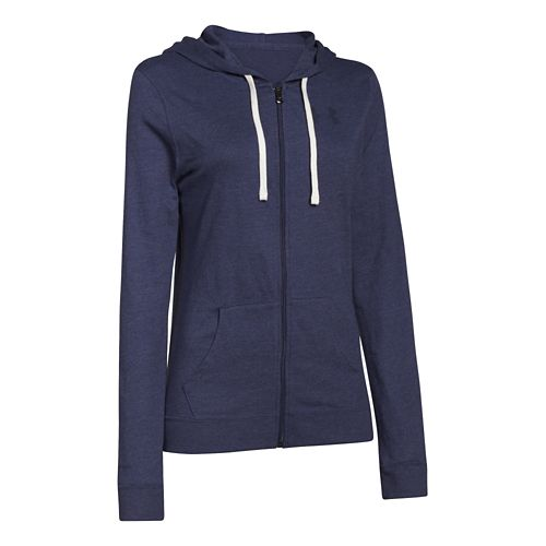 Womens Under Armour Charged Cotton Tri-Blend Full Zip Warm Up Hooded Jackets - Faded Ink ...