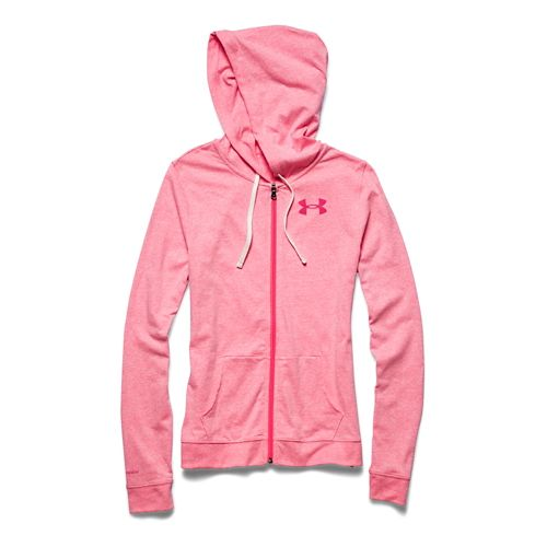 Womens Under Armour Charged Cotton Tri-Blend Full Zip Warm Up Hooded Jackets - Pink Shock ...