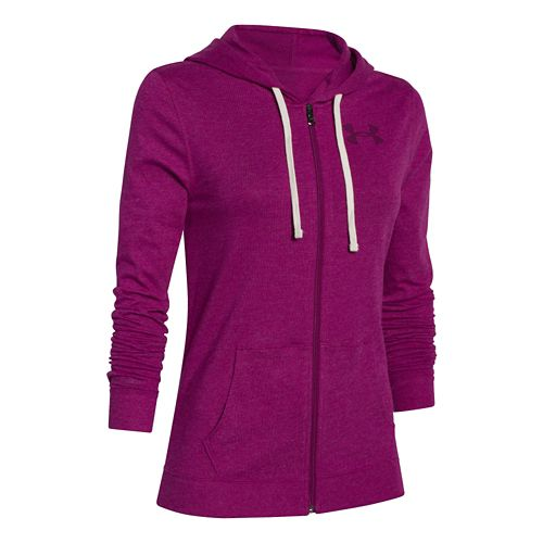 Womens Under Armour Charged Cotton Tri-Blend Full Zip Warm Up Hooded Jackets - Aubergine L ...