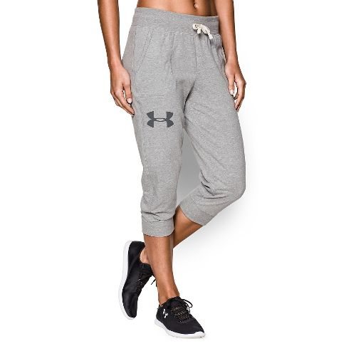 Womens Under Armour Charged Cotton Triblend Capri Pants - True Gray Heather S