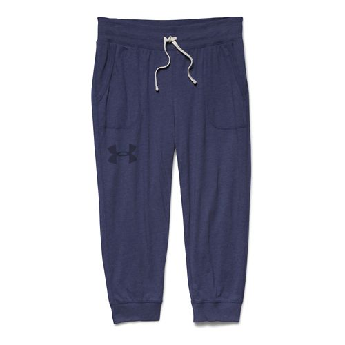 Womens Under Armour Charged Cotton Triblend Capri Pants - Faded Ink S