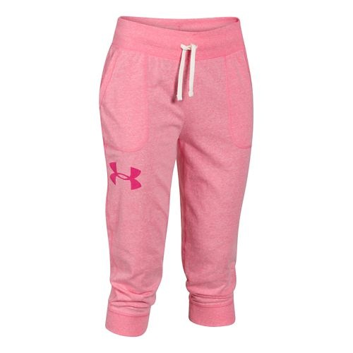 Womens Under Armour Charged Cotton Triblend Capri Pants - Pink Shock S