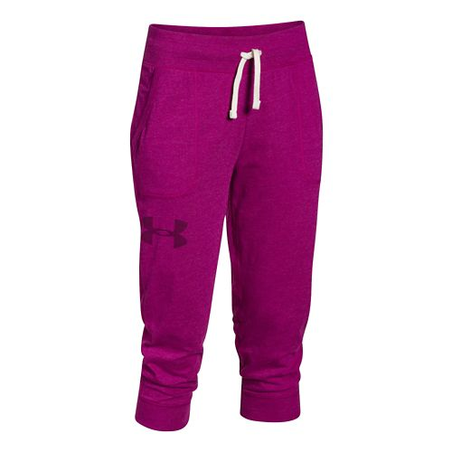 Womens Under Armour Charged Cotton Triblend Capri Pants - Aubergine XL