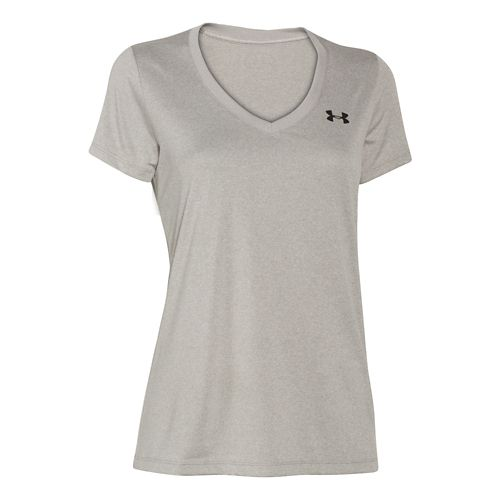 Womens Under Armour Tech V-Neck Short Sleeve Technical Tops - Warm Gray Heather S