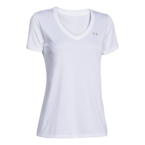 Womens Under Armour Tech V-Neck Short Sleeve Technical Tops - White XS