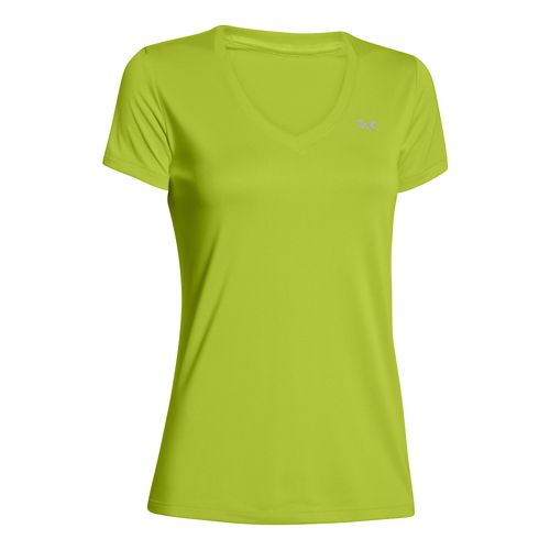 Womens Under Armour Tech V-Neck Short Sleeve Technical Tops - Speed Green XS