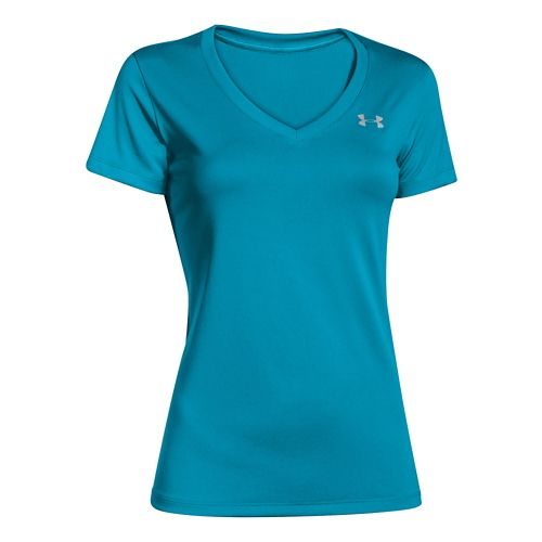Womens Under Armour Tech V-Neck Short Sleeve Technical Tops - Pacific M