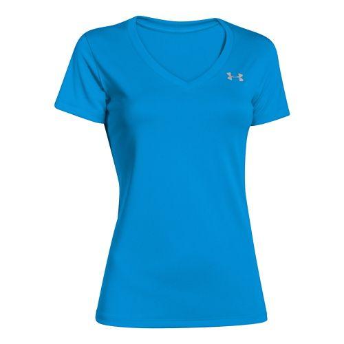 Womens Under Armour Tech V-Neck Short Sleeve Technical Tops - Jazz Blue S