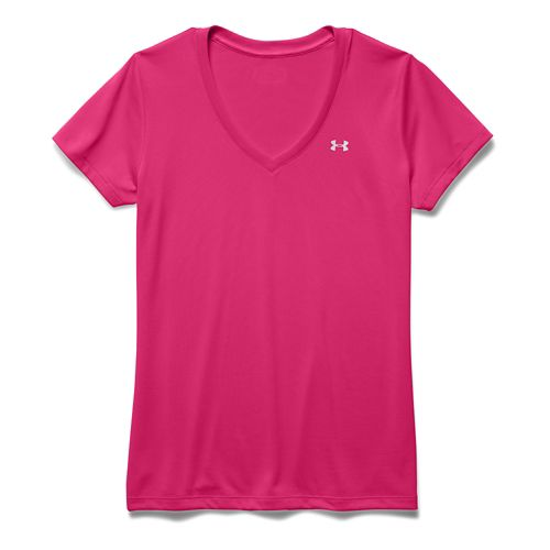 Womens Under Armour Tech V-Neck Short Sleeve Technical Tops - Gloss S