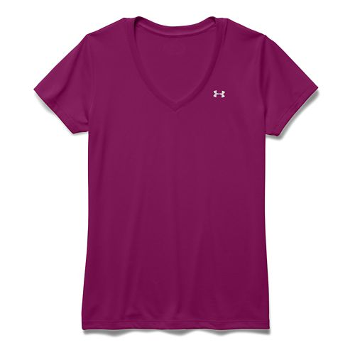 Womens Under Armour Tech V-Neck Short Sleeve Technical Tops - Aubergine L