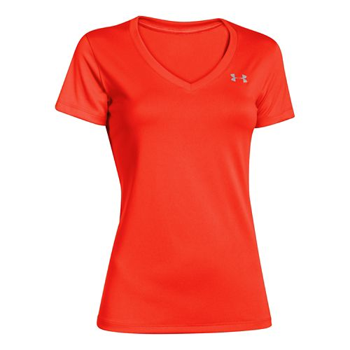 Womens Under Armour Tech V-Neck Short Sleeve Technical Tops - Dark Orange XS