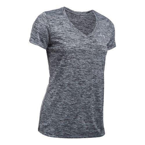 Womens Under Armour Tech V-Neck Twist Short Sleeve Technical Tops - Black S