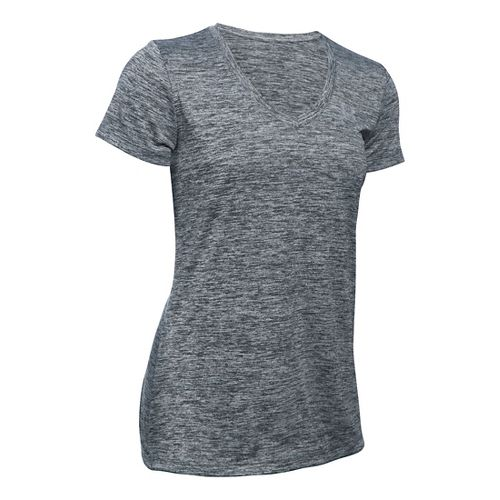 Womens Under Armour Tech V-Neck Twist Short Sleeve Technical Tops - Stealth Grey S