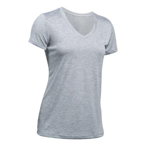 Womens Under Armour Tech V-Neck Twist Short Sleeve Technical Tops - Steel S