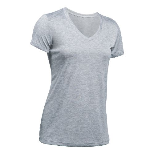 Womens Under Armour Tech V-Neck Twist Short Sleeve Technical Tops - Steel XS