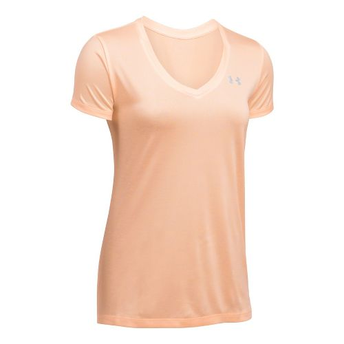 Womens Under Armour Tech V-Neck Twist Short Sleeve Technical Tops - Playful Peach XXL