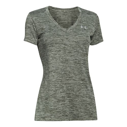 Womens Under Armour Twisted Tech V-Neck Short Sleeve Technical Tops - Downtown Green XS