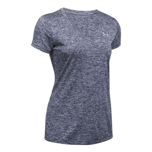Womens Under Armour Tech V-Neck Twist Short Sleeve Technical Tops - Island Blues S