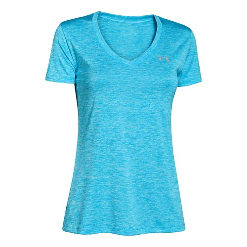 Womens Under Armour Twisted Tech V-Neck Short Sleeve Technical Tops - Island Blue/Twist XL