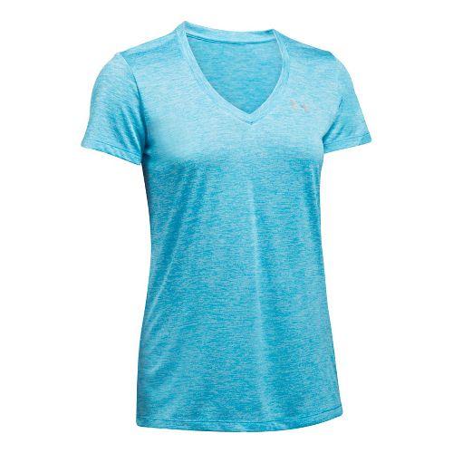 Womens Under Armour Tech V-Neck Twist Short Sleeve Technical Tops - Island Blues XS
