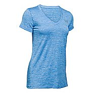 Womens Under Armour Tech V-Neck Twist Short Sleeve Technical Tops - Water L