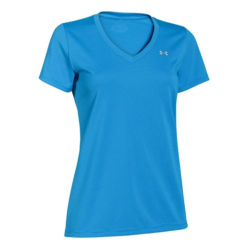 Womens Under Armour Twisted Tech V-Neck Short Sleeve Technical Tops - Snorkel/Stripe XS