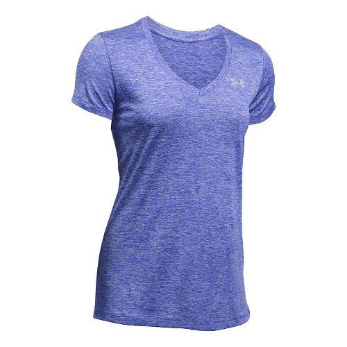 Womens Under Armour Tech V-Neck Twist Short Sleeve Technical Tops - Constellation Purple XS