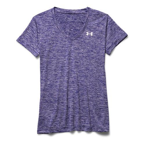 Womens Under Armour Tech V-Neck Twist Short Sleeve Technical Tops - Europa Purple M