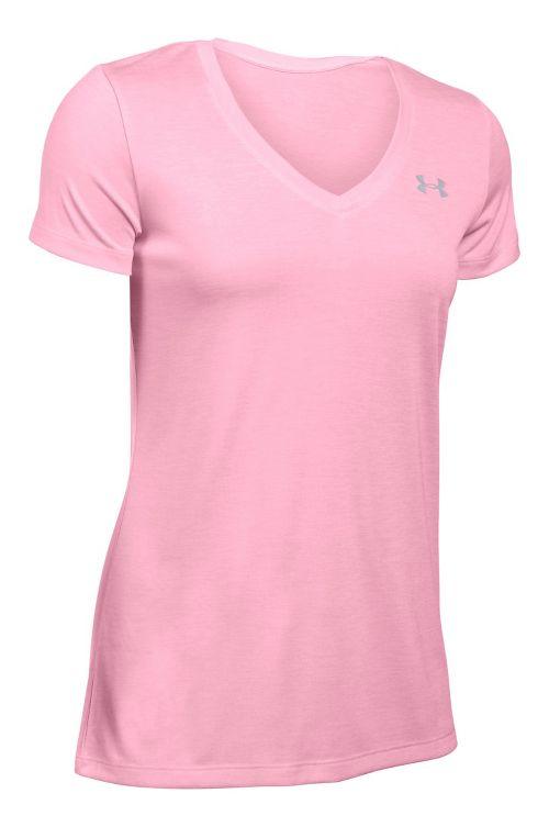 Womens Under Armour Tech V-Neck Twist Short Sleeve Technical Tops - Pink L