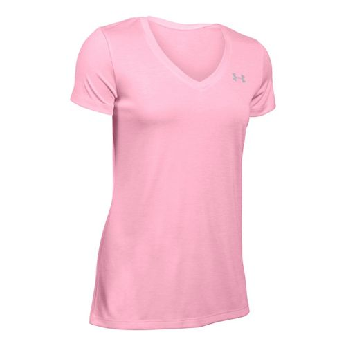 Womens Under Armour Tech V-Neck Twist Short Sleeve Technical Tops - Pink XL