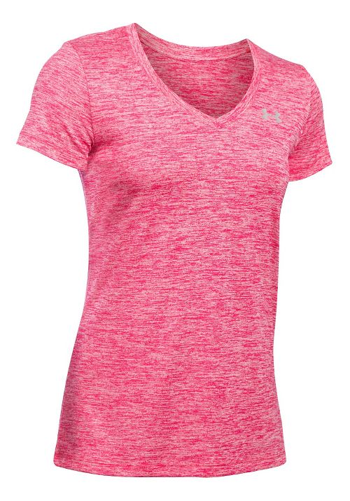 Womens Under Armour Tech V-Neck Twist Short Sleeve Technical Tops - Knock Out S