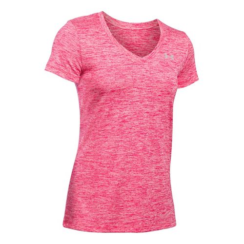 Womens Under Armour Tech V-Neck Twist Short Sleeve Technical Tops - Knock Out XS