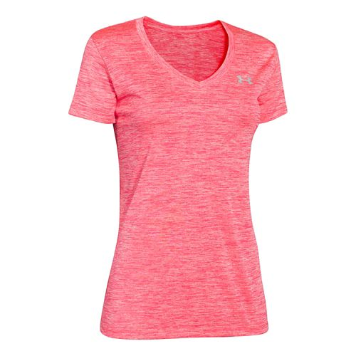 Womens Under Armour Tech V-Neck Twist Short Sleeve Technical Tops - Pink Shock/Twist XS