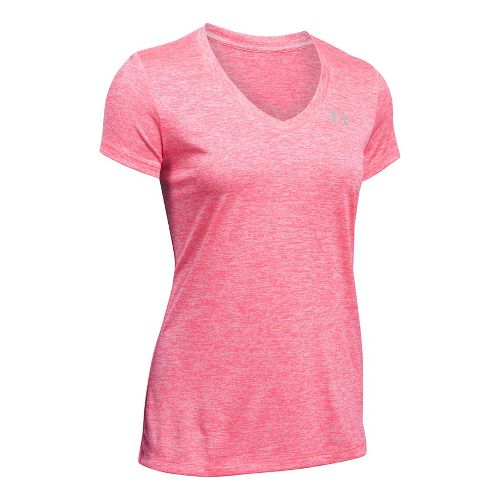 Womens Under Armour Tech V-Neck Twist Short Sleeve Technical Tops - Pink Shock M