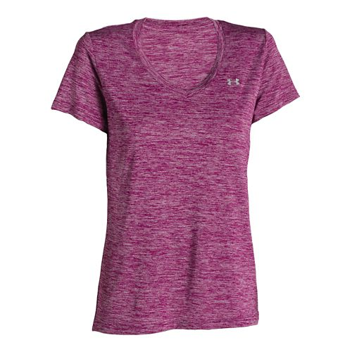 Womens Under Armour Tech V-Neck Twist Short Sleeve Technical Tops - Dynamo Blue S