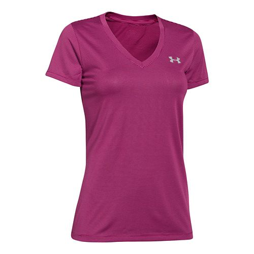 Womens Under Armour Twisted Tech V-Neck Short Sleeve Technical Tops - Aubergine/Stripe L