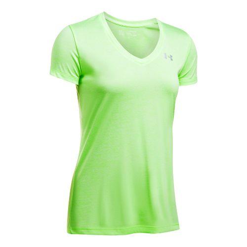 Womens Under Armour Tech V-Neck Twist Short Sleeve Technical Tops - Lime S