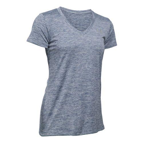 Womens Under Armour Tech V-Neck Twist Short Sleeve Technical Tops - Aurora Purple S