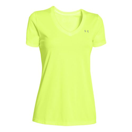 Womens Under Armour Twisted Tech V-Neck Short Sleeve Technical Tops - X-Ray/Stripe XL