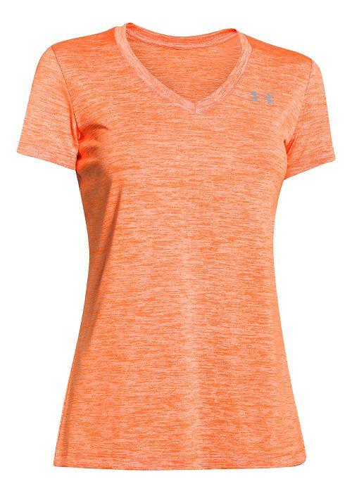Womens Under Armour Tech V-Neck Twist Short Sleeve Technical Tops - Cyber Orange S