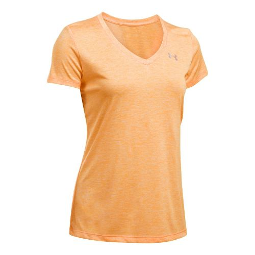 Womens Under Armour Tech V-Neck Twist Short Sleeve Technical Tops - Orange Peel XS