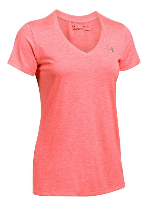 Womens Under Armour Tech V-Neck Twist Short Sleeve Technical Tops - Red XXL