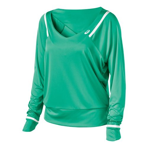 Womens ASICS Athlete Long Sleeve No Zip Technical Tops - Cool Mint L