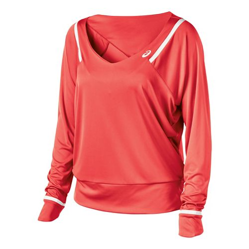 Womens ASICS Athlete Long Sleeve No Zip Technical Tops - Coralicious XS