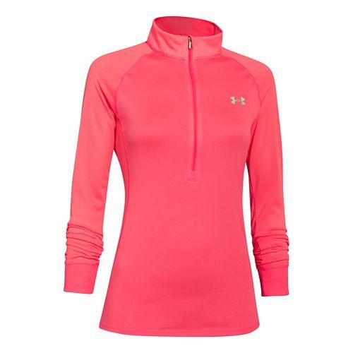 Womens Under Armour Tech Long Sleeve Half Zip Technical Tops - Pink Shock L